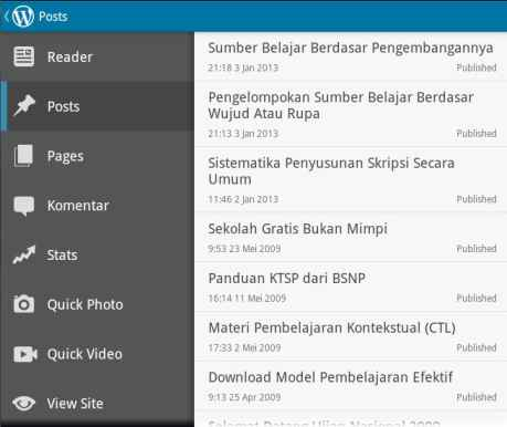 Sidebar WordPress Android